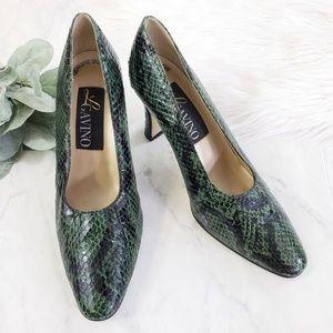 Vintage 80s Genuine Snakeskin Green & Black Heels